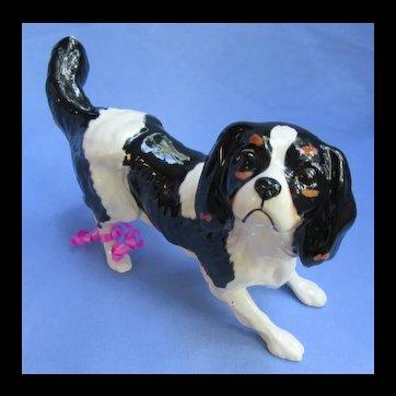 "Cavalier King Charles Spaniel Royal Doulton England 1980s black/tan dog 7"""