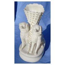 "Cavalier King Charles Spaniels Parian Victorian vase 6"""