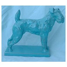 "Airedale Schnauzer Fox Terrier terracotta art deco turq color Italy 8"" dog"