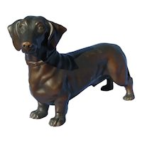 "10"" bronze Dachshund dog Jennings Brothers"