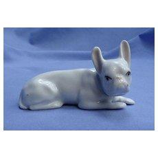 "white FRENCH BULLDOG Heubach Germany 4"" dog"