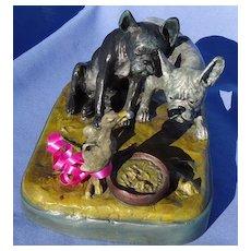 """French bulldog Bergman bronze inkwell 7"""""""