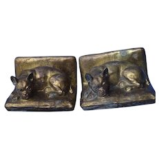 French Bulldog bronze clad bookends