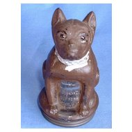 1940s glass dog candy container FRENCH BULLDOG