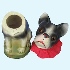 """French bulldog candy container Germany 8"""" paper mache dog"""
