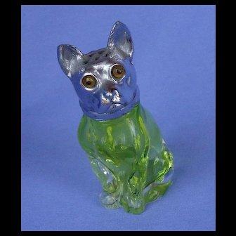 "French Bulldog green glass silver top shaker 3"""