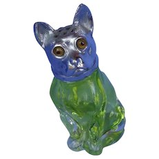 French Bulldog green glass silver top shaker 3""