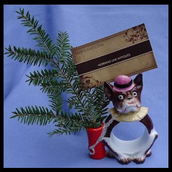 "French Bulldog napkin ring place card holder vase Germany 4"""