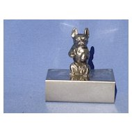 art deco silver plate French Bulldog match holder