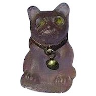 purple Amethyst frosted glass French Bulldog charm perfume dangle Czechoslovakia