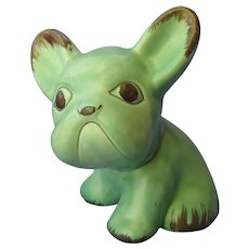 "8"" green French bulldog Sylvac England"