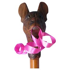 """antique French Bulldog mechanical mouth whip cane 20"""""""