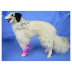 "Antique fur Borzoi  8"" salon dog Kestner Jumeau Bru fashion doll companion Germany"