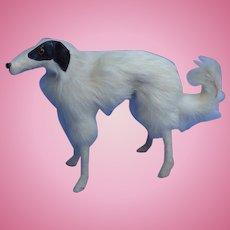 "Antique fur Borzoi  7"" salon dog Kestner Jumeau fashion doll Germany companion"
