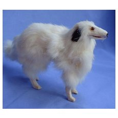"Antique fur Borzoi  8"" salon dog Kestner Jumeau fashion doll Germany companion"