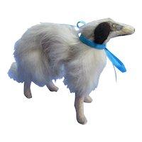 "Antique fur Borzoi  3"" salon dog Kestner Jumeau Bru fashion doll companion Germany"