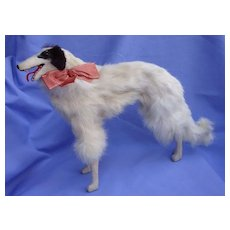"13"" fur BORZOI salon dog Kestner Bru French fashion doll companion Germany"