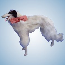 "13"" fur BORZOI salon dog Kestner Bru French fashion doll companion Germany"