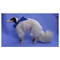 "Antique fur Borzoi  8"" salon dog Kestner Jumeau fashion doll Germany companion blue bow"