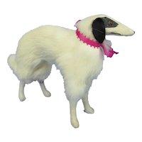 "Antique fur Borzoi  8"" salon dog Kestner Jumeau Bru fashion doll companion Germany label"