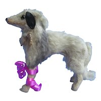 """fur Borzoi salon dog French fashion doll Germany label 3x5"""" JUMEAU BRU companion"""