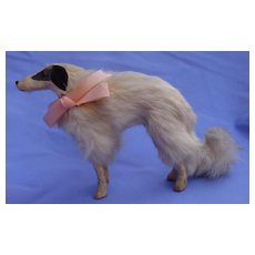"Antique fur Borzoi 8"" salon dog Kestner Jumeau French fashion doll companion Germany label"