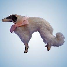 "Antique fur Borzoi 8"" salon dog Kestner Jumeau French fashion doll companion Germany label"