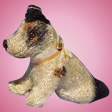 "antique Fripon Fox terrier sitting salon dog French fashion doll companion Germany  2"""