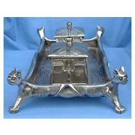 ARTS & CRAFTS silver inkwell French Bulldog/Boston Terrier