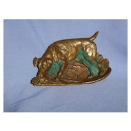 Fox /  Rat terrier with rat bronze tray 6""