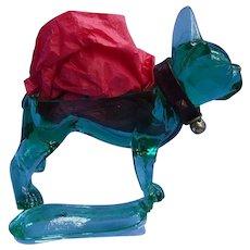 """rare green glass French bulldog Flint 8"""""""