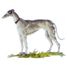 art deco Whippet Italian greyhound Czechoslovakia Hoffman crystal cigarette box