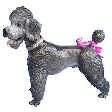 "1930 grey POODLE Rosenthal dog Germany 10"""