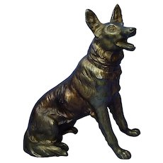"11"" German Shepherd Alsatian dog bronze finish metal"