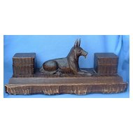 "1950 14"" Black Forest inkwell carved wood German Shepherd Alsatian dog"
