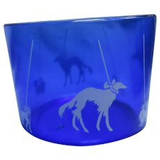 Borzoi Boston Scottish terrier Pekingese scotty dog cobalt blue ice bucket Hazel Atlas