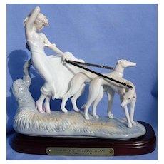 Icart Whippet Italian Greyhound dogs art deco lady figurine MIB #113