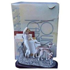 Icart Whippet Italian Greyhound dogs deco lady box