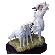 art deco Icart lady & Borzoi figurine