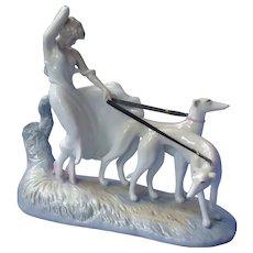 art deco Icart lady greyhounds whippet figurine