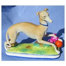"Italian Greyhound Whippet dog w deco orange ball 6"""