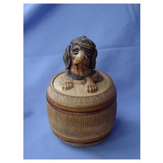 1890s Austria Maresch tobacco jar humidor dachshund