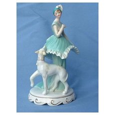 Whippet Italian  Greyhound  dog & flapper girl  music box 7""