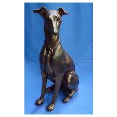 "1950s Whippet  Italian Greyhound Kay Finch 14"" gold dog"