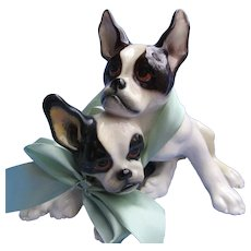 "1930 French Bulldog Keramos Austria 9"" dogs"