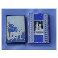 art deco card deck lady & 2 Borzoi