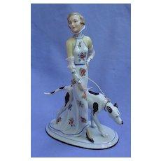 """Greyhound dog w deco lady Limbach Germany 8"""""""