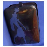 Miriam Marshall art deco lady & Borzoi metal clutch purse