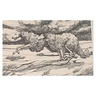..original 1979 LE woodblock print running Borzoi Van Loan