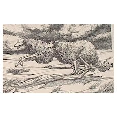 BORZOI original 1979 LE woodblock print running dogs Van Loan